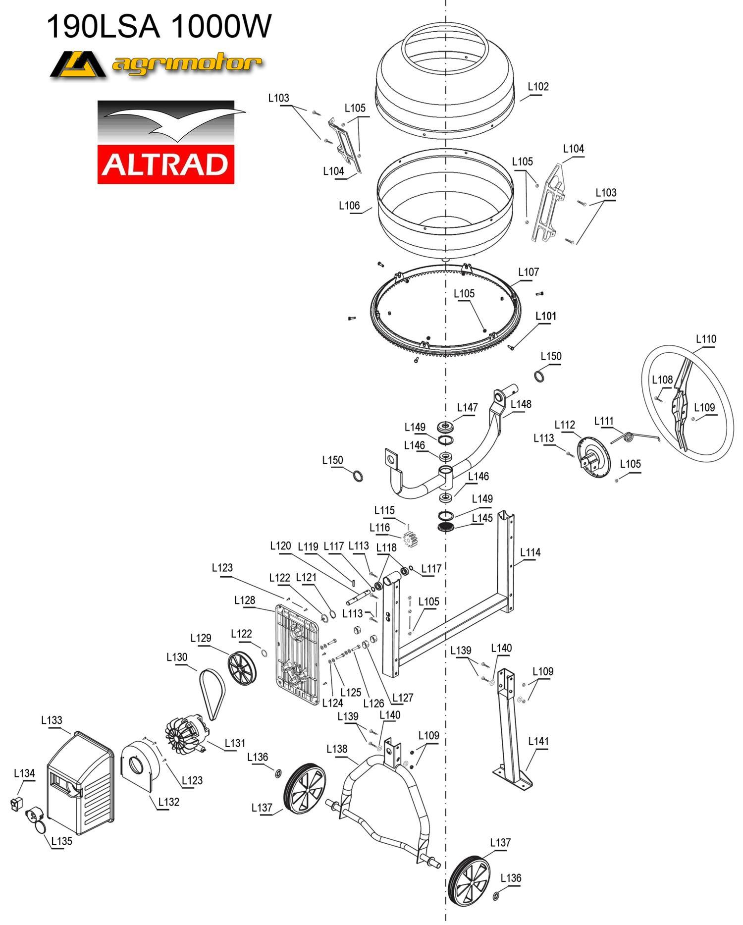 Agrimotor® - Altrad® betonkeverő bölcső 190LSA - drum holder - eredeti minőségi alkatrész*