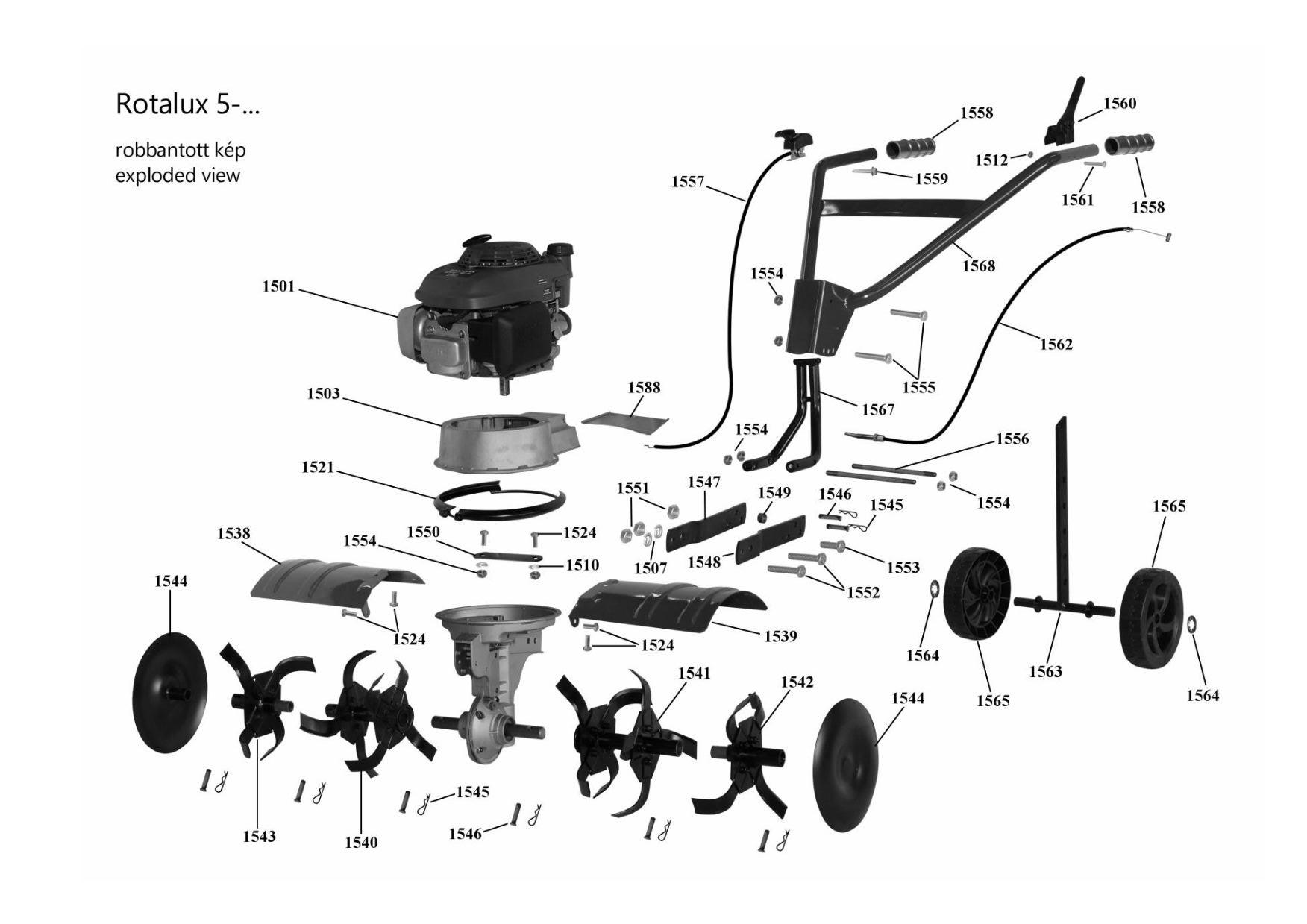 Agrimotor® 55034881 kuplung bowden - Rotalux52A / Rotalux5 - szemes - rotációs kapálógép - 1782 - 1562 - eredeti minőségi alkatrész*