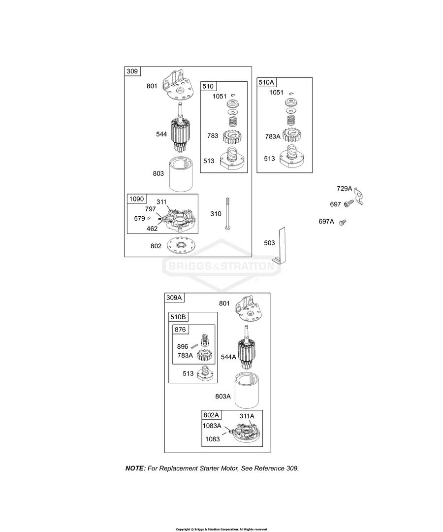 Briggs & Stratton® indítómotor - önindító - komplett - 497595