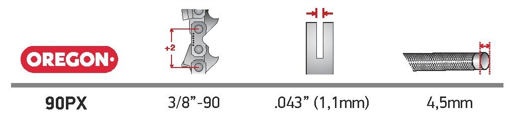 Oregon® AdvanceCut™ láncfűrész lánc 90PX056E technikai adatok