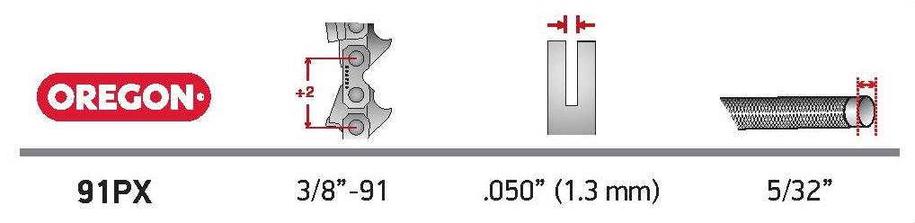 Oregon® AdvanceCut™ láncfűrész lánc - 91PX048E technikai adatok